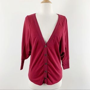 Free people soft red cardigan top